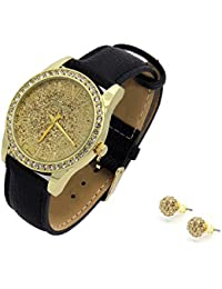 Ladies Gold Tone Gold Glitter Dial Leather Band Fashion Watch and Matching Earrings Set.