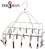 INDISWAN™ Cloth Hanger for Cloth Drying | 25 Clips | Stainless Steel | Balcony Roof Mount