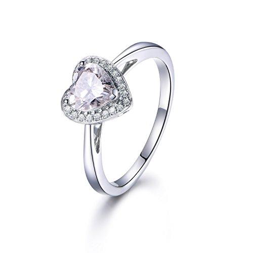 1ct Heart Shaped Brilliant Moissanite Engagement Ring,Solid 14K White Gold Halo Diamond wedding band