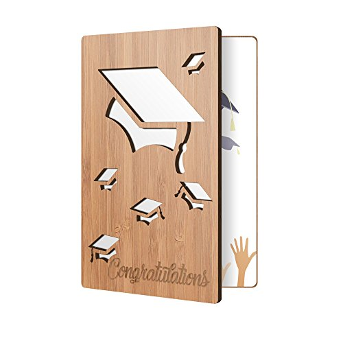Premium Congratulations Card: Bamboo Wood Greeting Card, Handmade Card Perfect For Saying Congrats To A Recent Graduate
