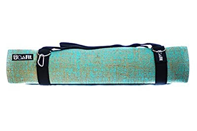 "Exercise Yoga Mat 5mm Thick By CuteFit - Premium Eco Friendly Non-Toxic PVC Natural Jute Ultra Grip Padding Extra Long 72"" Teal Mats With Carrying Strap"