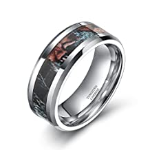 6mm/8mm Tungsten Wedding Rings Summer Leaves Camouflage Inlay Hunting Comfort Fit Band