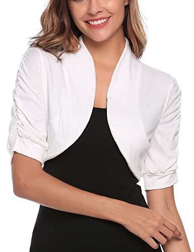 ile Open Front Lightweight Pleated Short Sleeve Bolero Shrug Jacket Crop Top Shirt White/L ()