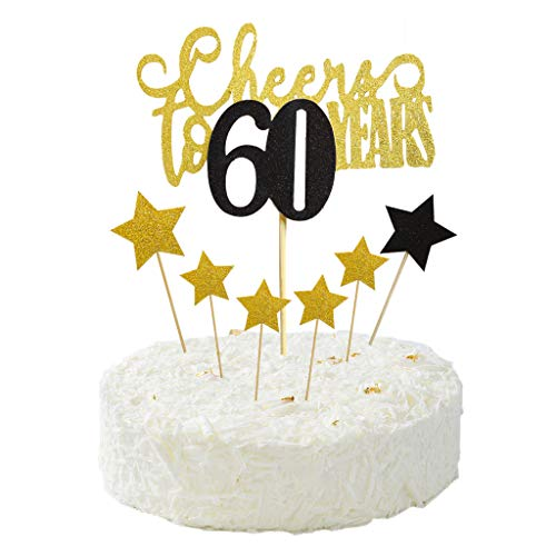Cheers to 60 Years Cake Topper for Happy 60th Birthday,Wedding Anniversary,Frendship Celebration Party Decorations Star Cake Picks
