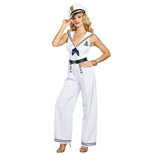 Sailor Captain Halloween Costume (Dreamgirl Women's Anchors Away, Blue/White,)