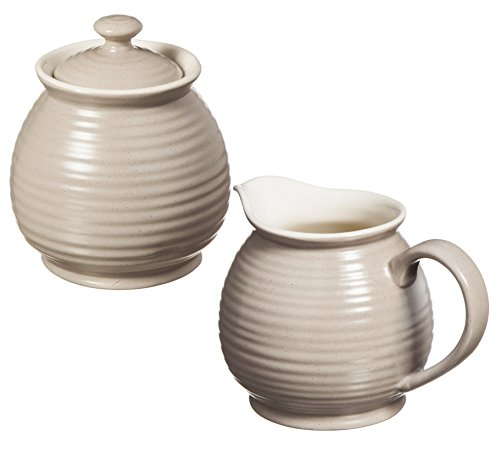 Cypress Home Shiloh Embossed Ceramic Sugar Pot and Creamer, Set of 2