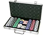 Da Vinci Premium 300 11.5 gram Striped Poker Chip Set w/3 Dealer Buttons, 2 Decks of Cards, & Case