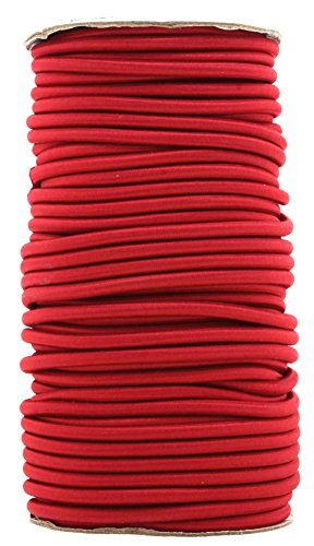 (Mandala Crafts 1/8 5/32 3/16 ¼ Colored Elastic Nylon Round Bungee Shock Cord, Tactical Rope Replacement Roll for Zero Gravity Chair Repair, Kayaks, DIY (4MM(114 FT or 35 Meters Long),)