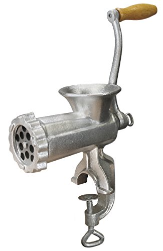 Weston #10 Manual Tinned Meat Grinder and Sausage Stuffer (36-1001-W), 4.5mm & 10mm plates, + 3 sausage (Cast Iron Meat Grinder)