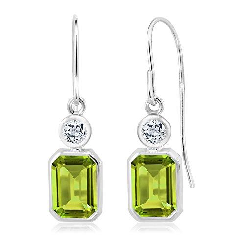 2.24 Ct Emerald Cut Green Peridot White Topaz 925 Sterling Silver ()