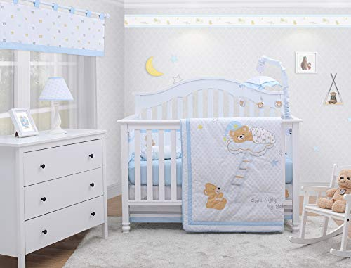 Crib Dreams Baby Bedding Bumper - OptimaBaby Sweet Dream Moon & Star Teddy Bear 6 Piece Baby Nursery Crib Bedding Set