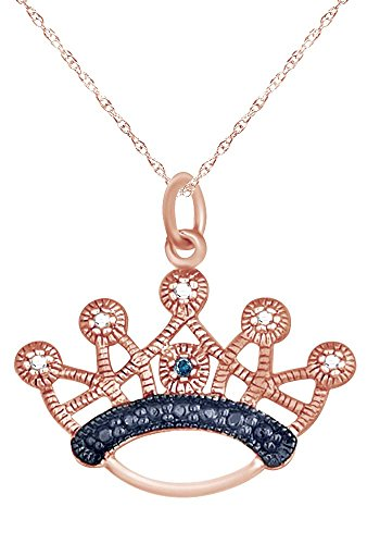 wishrocks 14k Rose Gold Over Sterling Silver Blue Diamond Accent Crown Pendant Necklace ()