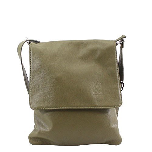 Gold Vera Green Plain Pelle Over Bag Army Crossbody Women Flap qT0pnw6q