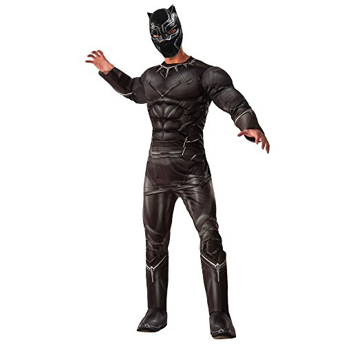 Black Panther Costume For Adults (Marvel Men's Captain America: Civil War Deluxe Muscle Chest Panther Costume, Black, Standard)