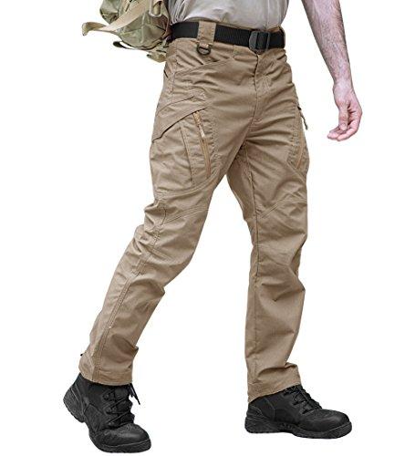 TACVASEN Casual Quick Dry Tactical BDU Ripstop Utility Multi-Pockets Cargo Trouser Pants Khaki,38