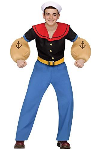 Fun World Big Boy's Popeye Costume Childrens Costume, Multi, Teen