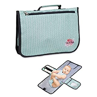 Luxe and Kids Portable Diaper Changing Pad - Large 28'' Waterproof Portable Changing Pad for Baby with Spacious Wipe and Diaper Pocket - Modern Mint Diaper Clutch Design for Boys and Girls