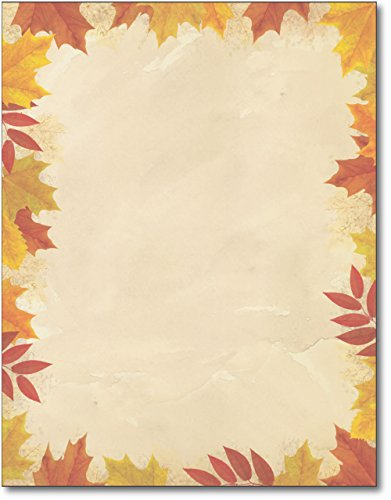 Autumn Leaves Border Stationery - 80 Sheets (Autumn Page Borders)