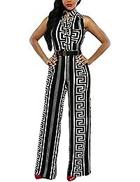 HOTAPEI Women V Neck Belted Sleeveless Wide Leg Jumpsuit