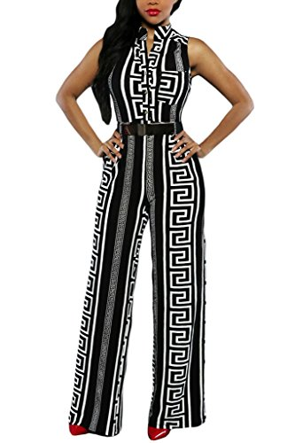 HOTAPEI Women V Neck Button Sleeveless Wide Leg Jumpsuit with Belt XL Multicolored2