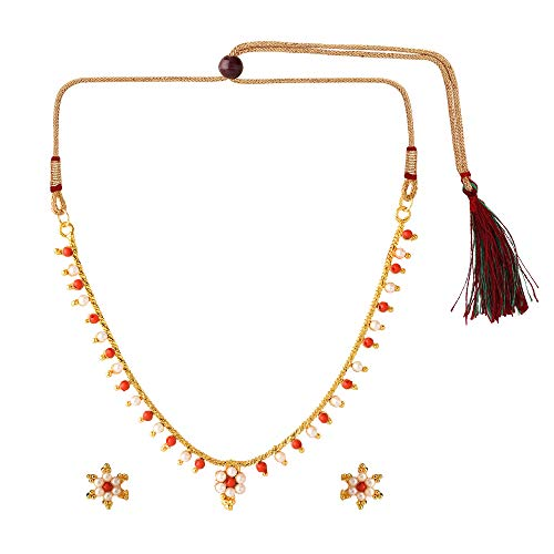 (Efulgenz Indian Bollywood Traditional 14 K Gold Plated Faux Coral Pearl Temple Choker Necklace Earrings Jewelry Set )