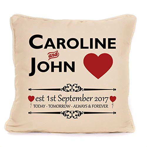 (Wedding Anniversary Gift - Personalized Cushion Pillow Cover - Today Tomorrow Always Forever Design - 18 x 18 inch)