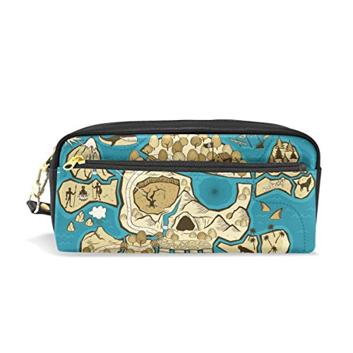 - Pencil Bag Pouch Nautical Pirates Skull Pen Case Holder with Compartments for School Student Women Cosmetic Bags Leather