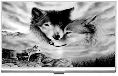 New Two Wolf The Dream Business Credit Card Holder Case