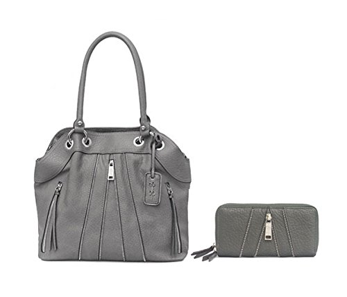 New Jessica Simpson Logo Purse Hand Bag & Matching Wallet 2 Piece Set Slate Gray Astor Tote by Jessica Simpson