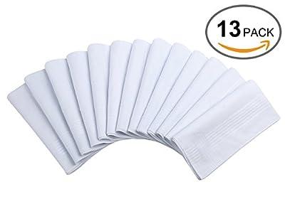 Cotton Handkerchiefs, Ohuhu 13 Pack Pure White Pocket Square Hankies For Men