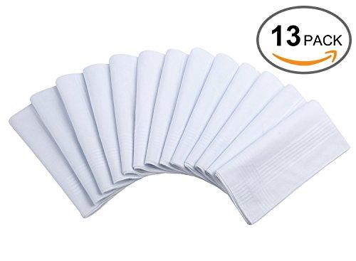 Cotton Handkerchiefs, Ohuhu 13 Pack Pure White Pocket Square Hankies / Pocket Handkerchief For Men (Handkerchief White Cotton)