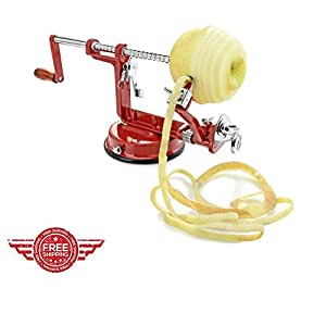 Apple Corer Peeler and Slicer All in One Machine Apple Fruit Stainless Steel Metal Ergonomic Best Spiral Homemade & eBook by Easy2Find