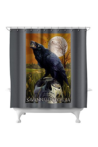 Raven and Moon - Savannah, GA (71x74 Polyester Shower Curtain)