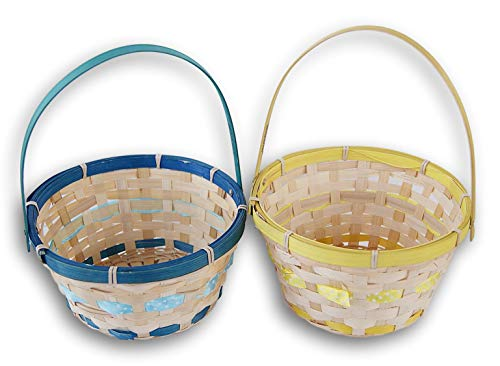 Colorful Round Easter Baskets - Blue and -