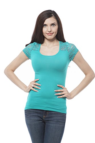 Cap sleeve top with lace contrast on the back Plus Size (2XL, Aqua)