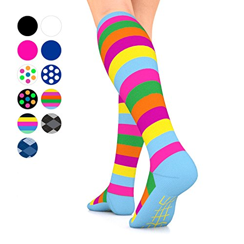 Go2 Elite Compression Socks for Women Men 15 20 mmHg Compression Stockings for Nurses, Running Medical Graduated Compression Socks for Travel Man Woman Athletic Nursing (stripes,medium single) Blended Stripe