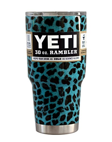 YETI Coolers 30 Ounce (30oz) (30 oz) Custom Powder Coated or Hydro Dipped Rambler Tumbler Cup Travel Mug Bundle with New Magslider Lid (Teal Leopard) by JunoSports