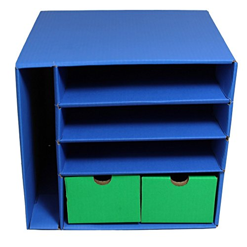 - Classroom Keepers Management Center, 4 Slots and 2 Drawers, Blue, 12-3/8
