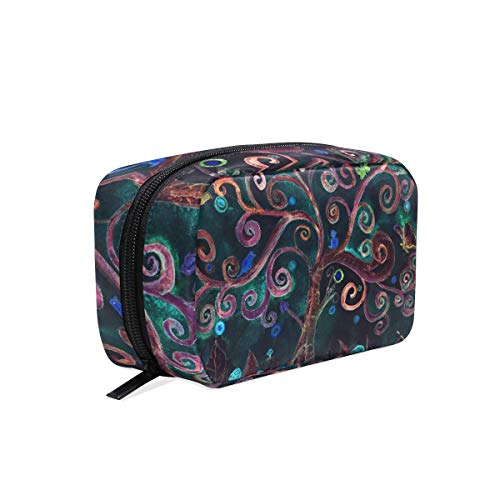 ZZKKO Turquoise Lunatic Tree Cosmetic Bag Train Case Toiletry Organizer Travel with Compartments, Makeup Bag Zipper Pouch for Teen Girls Women Small Purse