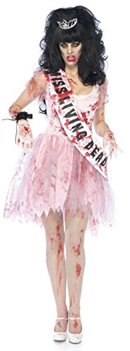 89890 Ladies M/L Putrid Bloody Prom Queen Carrie Dress Pink ()