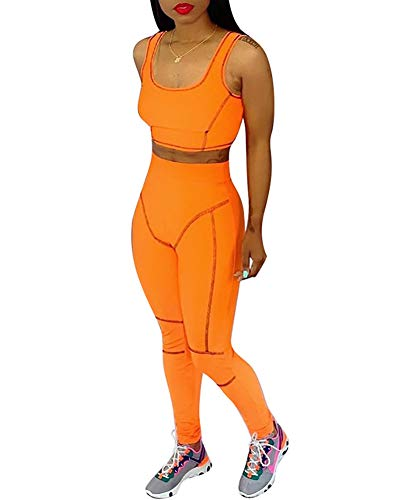 Orange Outfit - Workout Outfits for Tracksuit Womens - Cute Two Piece Outfits Crop Top + Sport Pants Set X-Large Orage Orange