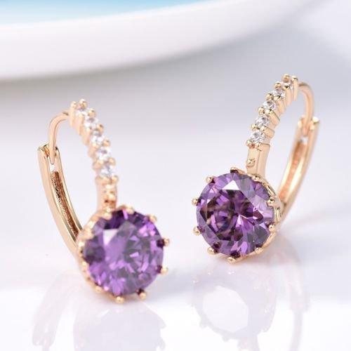 Gozebra(TM) Delicate Purple Amethyst Rhinestone 24K Gold Filled Leverback Earrings For ()