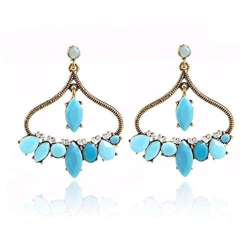 Stud Earrings - 1 Pair Bohemina Fashion Trendy Polished Blue Rhinestone Pendant Stud Earrings Geometry Sector Women Alloy Jewelry - Earrings For Women