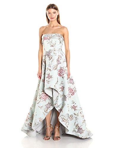 Mac Duggal Women's Floral Hi Lo Makkado Ball Gown, Antique/Blue, 12
