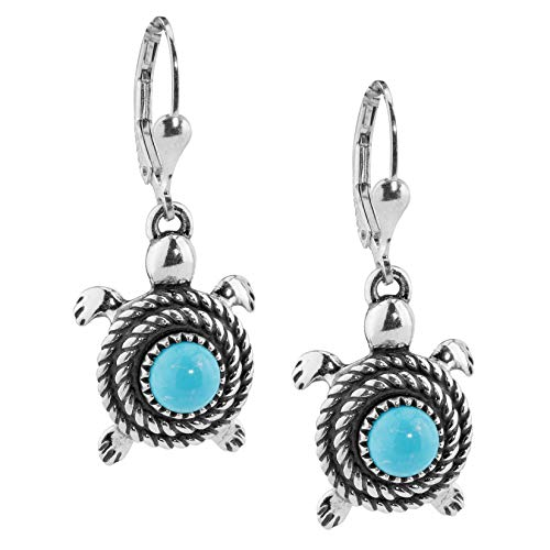 .925 Sterling Silver & Genuine Turquoise Rope-Twist Round Turtle Dangle Earrings, 1-3/8