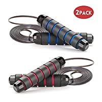 Jump Rope Workout Tangle-Free with Anti-Slip Handles Adjustable Skipping Rope Ideal for Training, Fitness & Cardio - Rapid Speed Rope Crossfit Jump Ropes for Women, Men,Kids, 2 Pack(Red+Blue)