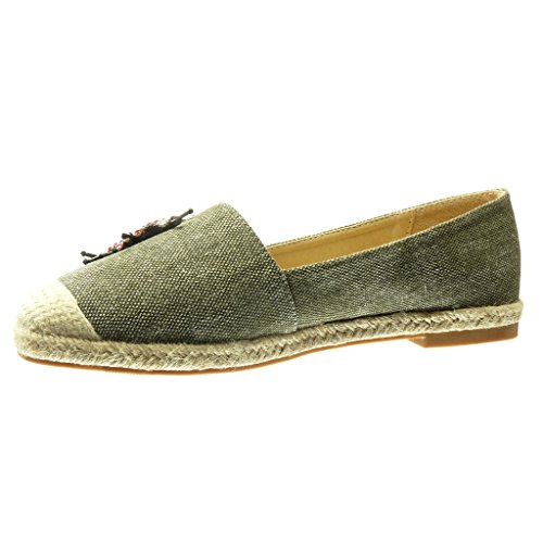 Angkorly Women's Fashion Shoes Espadrilles Mocassins - Slip-on - Jeans Denim - Jewelry - Embroidered - Fantasy Block Heel 2 cm Green L7sZt