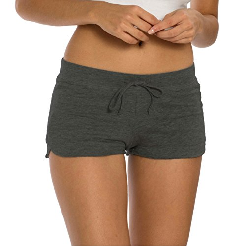 (VBRANDED Women's Sexy Yoga Pilates French Terry Shorts X-Large Charcoal Grey)