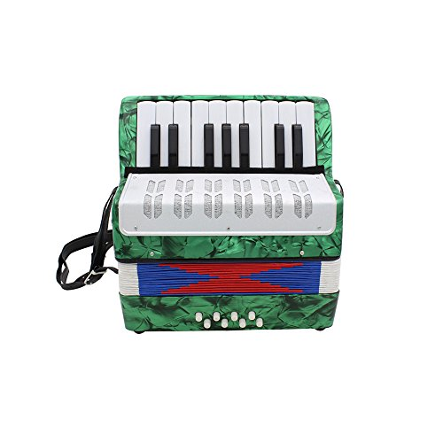 Accordion,Mini Accordion,Small 17-Key 8 Bass Educational Musical Instrument Toy for Kids Children Amateur Beginner (Green)