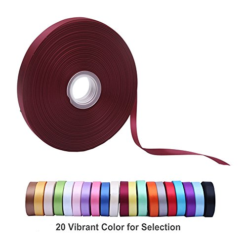 "Double Face Satin Ribbon 3/8"" Wide x 100 Yard Roll (300 FT Spool), Available in 20 Vibrant Colors for Choice (Wine Red)"